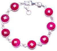 silber 925 rubin armband großhandel-Natürliche Kirsche Rubin Handarbeit einzigartige 925 Sterling Silber Armband 7-7 3/4
