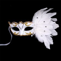 Hot selling Venetian Masquerade Mask on Stick Mardi Gras Costume Eyemask Printing Halloween Carnival Hand Held Stick Feathers Party Mask