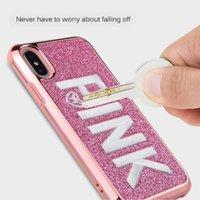 розовый чехол для мобильного телефона оптовых-Тонкий Гибридный 2 в 1 Алмазный Блинг Любовное Письмо Розовый Блеск 3D Вышивка Телефон Чехол Для iPhone X iPhone 8 7 6 Samsung S9 plus Гальваническим