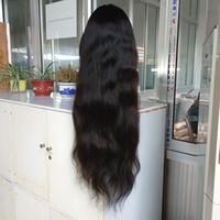 lange remy frisuren großhandel-Babyhaar um natürliche Haarlinie gerade reine rohe peruanische volle Spitzeperücke Spitze-Front-Haar-Perücken 28 Zoll auf Lager