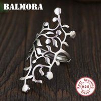 Wholesale cool rings for women - whole saleBALMORA Solid 925 Sterling Silver Hollow Leaf Rings for Women Gift Ethnic Thai Silver Ring Fashion Cool Jewelry Anillos SY21895