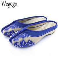 китайский пол оптовых-Women Slippers Ethnic Style Canvas Cloth Shoes Woman Old Peking Slippers Chinese Embroidery Soft Shoes Floor Home