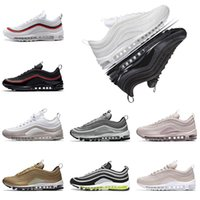 Wholesale mens shoes 45 - with box 97 shoes Triple white black pink Running shoes Og Metallic Gold Silver Bullet Mens trainers Women sports Shoes sneakers size 36-45