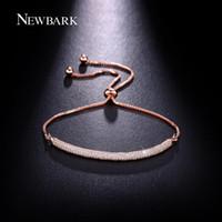 white rose charm for bracelet Australia - NEWBARK Charm Rose Gold Color Bracelets AAA CZ Stone Geometric Shaped Chain & Link Trendy Bracelets Best Jewelry Gift For Women