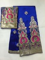 tecido de lantejoulas de azul royal venda por atacado-5 metros New fashion azul royal africano George tecido de renda com lantejoulas de ouro e 2 metros de renda líquida para roupas JG18-4