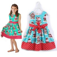 Wholesale Princess Ball Gown Dress Cake - Baby cake Print dress Bow Dot Princess dresses 2018 new fashion Kids Clothing Boutique sleeveless girls Ball Gown C3439