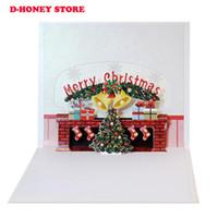 ano novo 3d feito à mão venda por atacado-3D Xmas Árvore Lareira Handmade Ano Novo Cartões Do Feriado Feliz Natal Pop Up Cartão Presentes