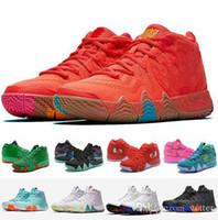sutyen takılar toptan satış-4 s Kyrie IV Şanslı Charms Erkekler Basketbol Ayakkabı En Kaliteli Irving 4 Confetti Renk Yeşil Tasarımcı Eğitmenler Sneakers Ücret ...