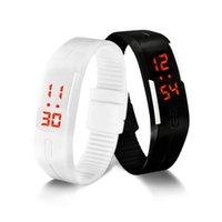 любовник электронные часы оптовых-Светодиодные цифровые часы электронные наручные часы корейские любители Мужчины Женщины часы творческий календарь красочные резиновые смарт Montre Femme