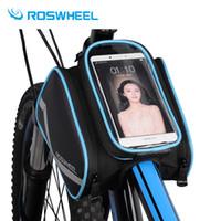 siyah sarı dağ bisikleti toptan satış-ROSWHEEL 6.2 Inç su geçirmez telefon dokunmatik ekran bisiklet çantaları ön çerçeve üst tüp çantası yol MTB dağ bisiklet Bisiklet aksesuarla ...