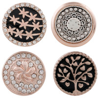 Wholesale metal snap flower buttons for sale - Group buy Rose Gold Snap Jewelry Crystal Flower Metal MM Snap Buttons Fit DIY OEM Snap Bracelets For Women price