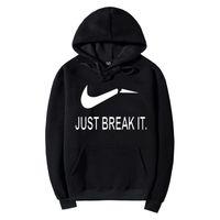 Wholesale tracksuits hoodies sweatshirt moleton suit online – oversize Skateboard JUST BREAK IT Hip Hop Sweatshirt Men Hoodies Fashion Solid Fleece Hoodie Mens Suit Pullover Men s Tracksuits Moleton