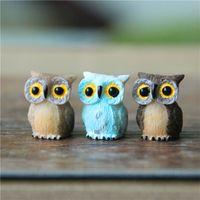 ingrosso ornamenti da giardino animale-Micro Mini Gufo Uccelli Fairy Garden Miniature Figurine Resina Figura animale Giocattoli Decorazione della casa Ornamento Spedizione gratuita ZA5826