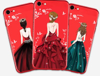 Wholesale Diamond Cell Phone Cases - For iPhone 6 6 7 8 plus X The back of beautiful girls Diamond Soft silicon Flame Protective Cell phone cases 10082