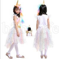 Wholesale cosplay lolita clothing for sale - Girls unicorn Rainbow Dress Unicorn Headband Angel Wings Lace Tutu Princess Dress Pieces Suits Cosplay Clothing dress KKA5502