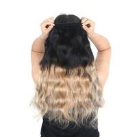 extensiones de cabello rubio de 14 pulgadas al por mayor-Ombre Brazilian Human Hair Weave 4 paquetes de paquetes de ondas corporales rubias 1B / 27 Ombre Paquetes de colores rubios Extensión del cabello 4 piezas / lote 12-24 pulgadas