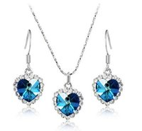 Wholesale Ocean Heart Jewelry Sets - Titanic Heart of the Ocean Crystal Clavicle Necklace Women Austria Crystal Heart Pendant Necklace Earrings Jewelry Set