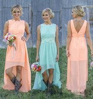 Wholesale chiffon hi lo beach wedding dresses resale online - Cheap Country Bridesmaid Dress Chiffon A Line Hi lo Coral Mint Beach Lace Applique Low Back Maid Of the Honor Wedding Guest Dress