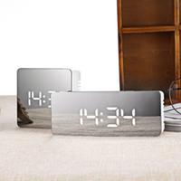 будильник включен оптовых-Mini LED Mirror Alarm Clock Digital Electronic Desk Table Watch Wake Up Light No radio Snooze Nixie Clock For Kids