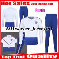 Wholesale Russian Suit - 2018 2019 World cup Russia Soccer Jersey Russian Training suit tracksuit DZAGOEV KOKORIN GLUSHAKOV KUZIAEV kits long sleeve Football jacket