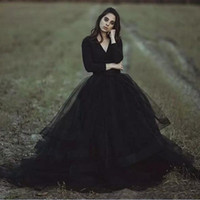 Wholesale color outdoor wedding dress resale online - Modest Black Gothic Wedding Dresses V Neck Long Sleeve Puffy Tutu Cheap Simple Tulle Bridal Garden Outdoor Wedding Gowns
