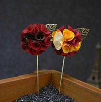 mens çiçek yaka iğneleri toptan satış-11 Renkler Moda El Yapımı Çiçek Yaka Çiceği Sopa Broş Pin Mens Womens Aksesuarları için Altın Yaprak Çiçek Yaka Pin Broşlar 2018