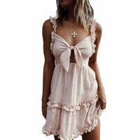 60cadc3878d Women Off Shoulder Sexy Strapless Bow Frill Ruffles Dress 2019 Summer Beach  Dresses for Women Mini Vestido