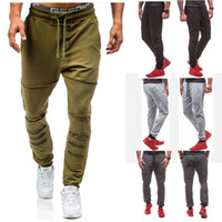 Wholesale Gray Pearl Loose - Mens Hole Design Casual Fashion Pants 2018 Fitness Elastic Sports Gym Pants Work Skinny Sweatpants Trousers Jogger Pants M-XXL 3 Colors