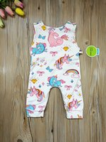 Wholesale cute toddlers onesie resale online - 2018 New Unicorn Printed Sleeveless Baby Romper Girls Jumpsuit Cute Summer Infant Onesie Fashion Toddler Bodysuit