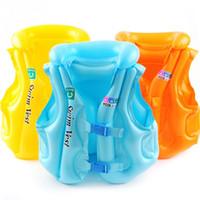 chaleco inflable bebé al por mayor-2018 flotadores inflables para piscina Baby Kid Float Chaleco salvavidas inflable Chaleco salvavidas Ayuda de natación Para la edad 2-13 S M L color al azar