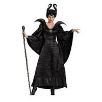 schwarze königin kostüm großhandel-Heiße Hexe Kostüm Maskerade Königin Kostüm Erwachsene Frauen Sexy Erwachsene Hexe Langes Schwarzes Kleid in Halloween Karneval Party