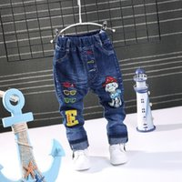 Wholesale kids jeans boys - 2018 NEW Spring Fashion Cartoon Boys Jeans Baby casual letter Pants Kids Elasticity Jean Boy Trousers Autumn Children Denim 1-5Y