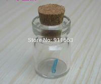frascos de vidro abertos venda por atacado-(100sets / lot) 1ml, abertura de 13mm, frascos de vidro transparente com rolha de cortiça de 13mm, frascos de vidro