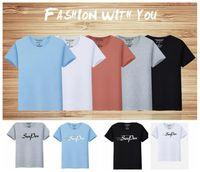 Wholesale Pent Men - men letter prints short sleeve T shirt men plus big fashion casual sen pen printing crew neck Casual Fashion T-shirt 5 color KKA4225