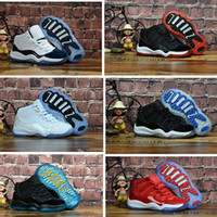 Wholesale toddler trainers online - Bred XI S Kids Basketball Shoes Gym Red Infant Children toddler Gamma Blue Concord trainers boy girl tn sneakers Space Jam