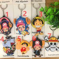 llavero de una pieza de anime al por mayor-7 Estilo Anime Series ~ One Piece Chopper Bar PVC de doble cara Suave Llavero de regalo Llavero Adornos V 001