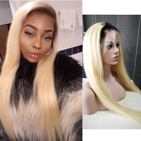 Wholesale blonde remy wig - Brazilian Human Hair 150% Density T1b 613 Dark Roots Blonde Wig Pre Plucked Remy 1B 613 Ombre Lace Front Wigs With Baby Hair Lace Front Wig