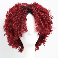 Wholesale wig black cosplay men - Afro Kinky Curly Wig Synthetic Short Hair Wig Curly African American Red Wigs for Black Women Men Natural Style Party Cosplay Wig