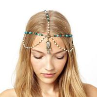 украшения для тиары на лбу оптовых-New Arrival  Bridal Hair Accessories Head Chain Women Vintage Boho Headpiece Jewelry Wedding Color Forehead Tiara 233