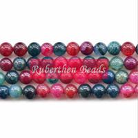 Wholesale NB0028 Hot Sale Natural Stone Imitation Tourmaline Agate Loose Beads High Quantity Stone Round Bead Jewelry Making Accessory