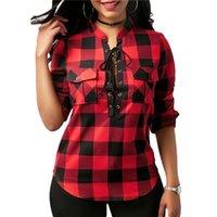v completo camiseta venda por atacado-Xadrez Sexy T Shirt Mulheres Tshirt Top Tee T-Shirt Camisetas Mujer Tops Tshirt Moda Vintage Elegante Harajuku Roupas Completa Com Decote Em V