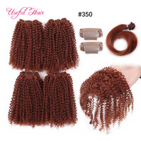 Wholesale blonde synthetic hair weave for sale - fasihon kinky curly Synthetic hair weave bundles g inch Brazilian hair bundles cuticle aligned hair