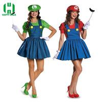 super mario sexy kostüm großhandel-Sexy Halloween Super Mario Luigi Bros Kostüm Frauen Sexy Kleid Klempner Kostüm Adult Mario Bros Cosplay Kostüm Fancy Dress S920
