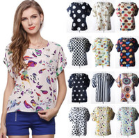 Wholesale t shirt birds women - 18 Colors Women Chiffon Shirt Blouse Bird Wave Stripe Print Casual T-shirts Short Sleeve Tee Tops EEA428 20PCS