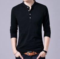 mandalina gömlek erkek toptan satış-T-Shirt Erkekler Bahar Sonbahar Yeni Pamuk T Gömlek Erkekler Katı Renk Mandarin Yaka Uzun Kollu Üst Tee
