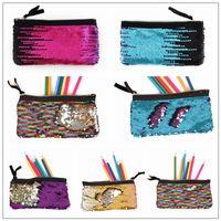 Wholesale yoga wholesale supplies - 16 Colors Mermaid Pencil Bag School Sequin Kids Pencil Supplies Stationery Office Supplies Bags Women Girls Make Up Bags CCA10082 60pcs