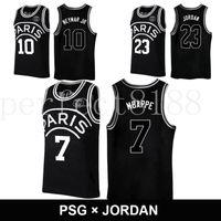 ac45e613baf Wholesale basket jersey for sale - 2018 black basketball AJ PSG jerseys  Michael MJ NEYMA jr