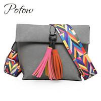 Wholesale cross body bags for girls - Pofow Women Messenger Bag Brand Designer Tassel Colorful Strap Crossbody Bag For Girls Shoulder Female Small Flap Handbags