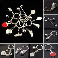 Wholesale Tennis Ball Keychain - Sport Ball Racket Key Ring Metal Keychain Making Parts Golf Key Chain Badminton Tennis Accessories Creative Novelty Gift Free DHL D520L