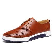 Wholesale Black Hole Office - 2017 Hot Sale Men's Shoes Leather Holes Design Summer Breathable Shoes Spring Autumn Business Men Flats Sapato Masculino
